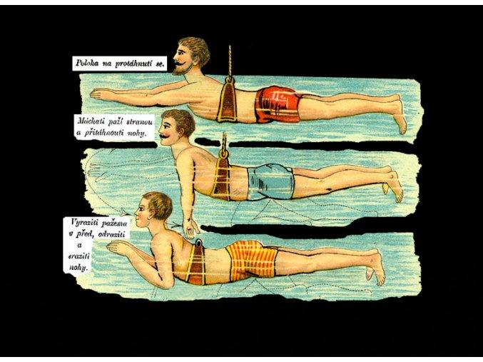Jak se naučit plavat - tričko s potiskem (Pánské/Dámské Dámské černé, Velikost XXL)