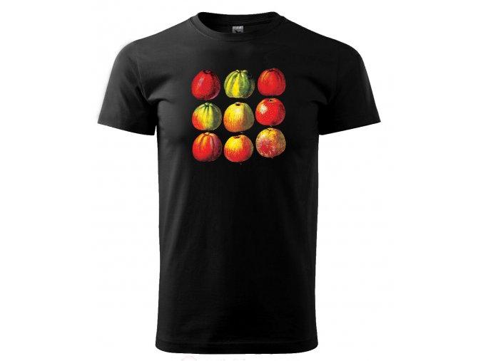 Černé tričko s potiskem ovoce jablka