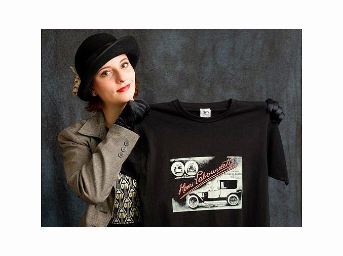 Automobil Henri Labourdette - tričko s potiskem (Pánské/Dámské Dámské černé, Velikost XXL)