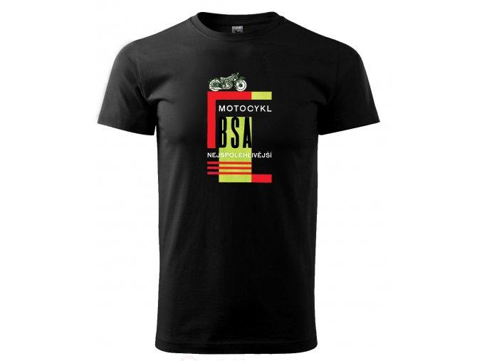Černé tričko s potiskem motocykl BSA