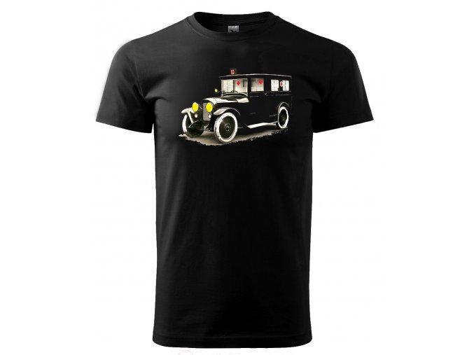 Černé tričko s potiskem veteran auto sanita