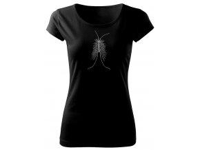 černé tričko s potiskem paslíďák keřový dámské
