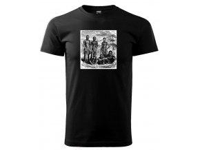 pánské černé tričko spotiskem lovci