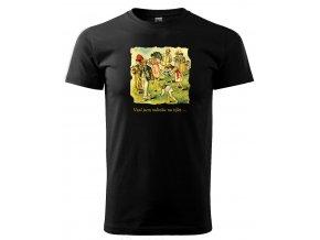 Černé tričko s potiskem rodinný výlet