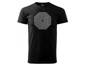 Černé tričko s potiskem labyrint