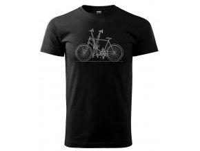 Černé tričko s potiskem retro kolo