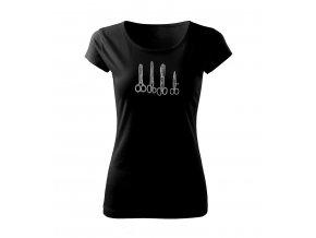Černé tričko s potiskem dámské kadeřník a holič