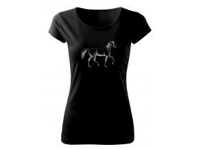 kůň v podkolenkách černé triko dámské