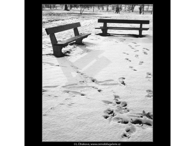 Dvě lavičky (1058-2), žánry - Praha 1961 únor, černobílý obraz, stará fotografie, prodej