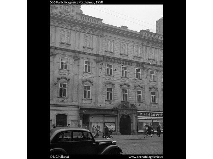 Palác Porgesů z Portheimu (566), Praha 1958 , černobílý obraz, stará fotografie, prodej