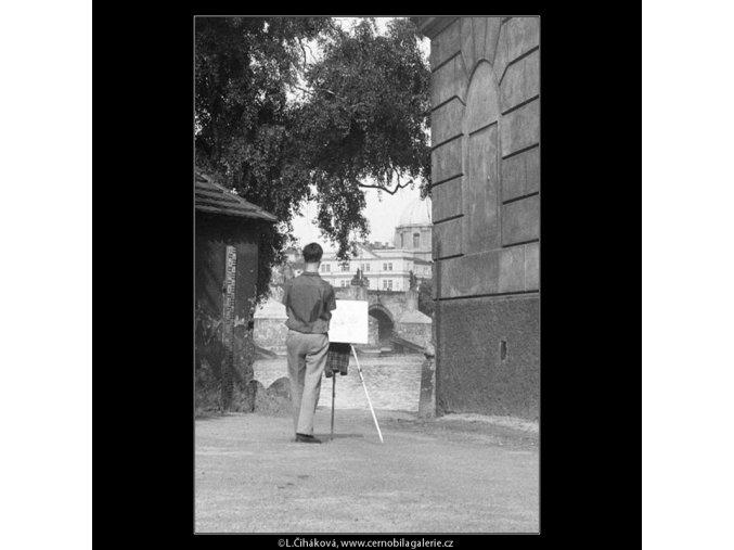 Malíř na Kampě (226), Praha 1959 srpen, černobílý obraz, stará fotografie, prodej