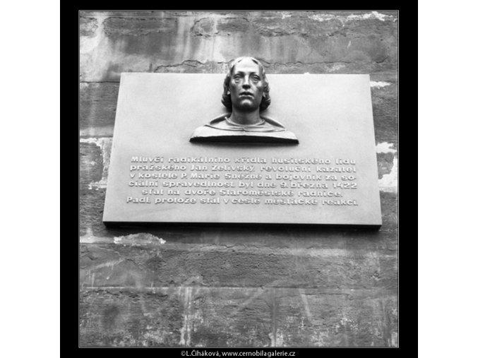 Pamětní deska Jana Želivského (598), Praha 1960 duben, černobílý obraz, stará fotografie, prodej