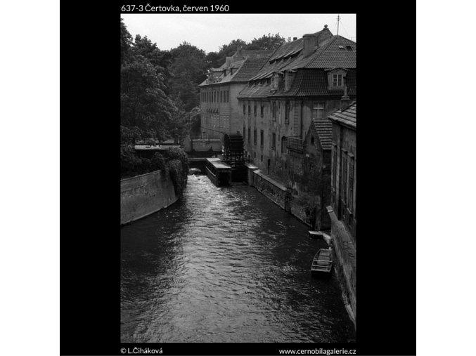 Čertovka (637-3), Praha 1960 červen, černobílý obraz, stará fotografie, prodej
