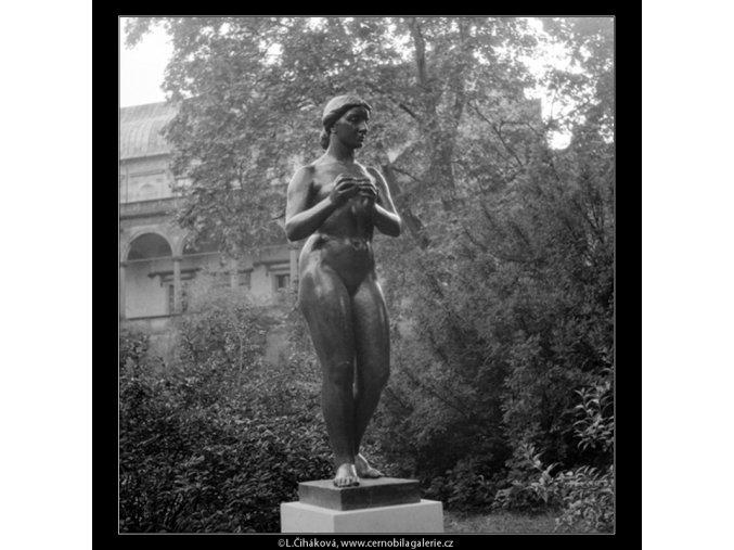 Dívka s jablkem (642-9), Praha 1960 červen, černobílý obraz, stará fotografie, prodej