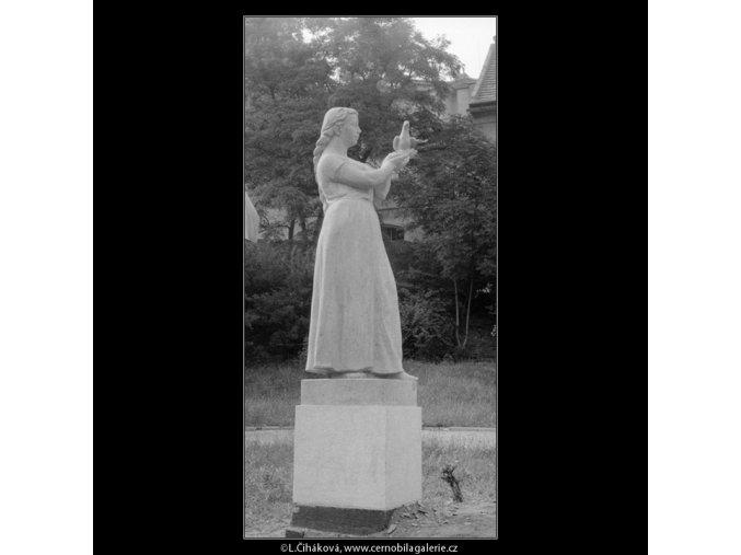 Dívka s holubicí (665-1), Praha 1960 červen, černobílý obraz, stará fotografie, prodej