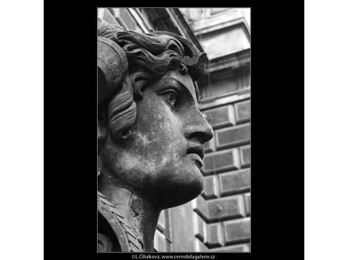 Detail hlavy sfingy (1224-2), Praha 1961 srpen, černobílý obraz, stará fotografie, prodej