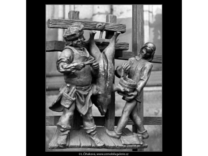 Výzdoba mříže Zlaté brány (1367-12), Praha 1961 listopad, černobílý obraz, stará fotografie, prodej