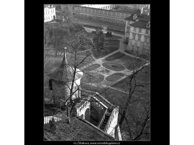 Fürstenberské zahrady (1446), Praha 1962 leden, černobílý obraz, stará fotografie, prodej
