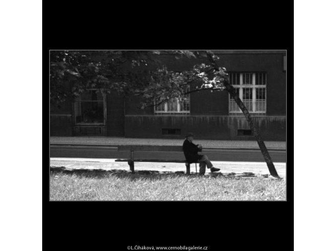 Starý pán na lavičce (1641), žánry - Praha 1962 květen, černobílý obraz, stará fotografie, prodej