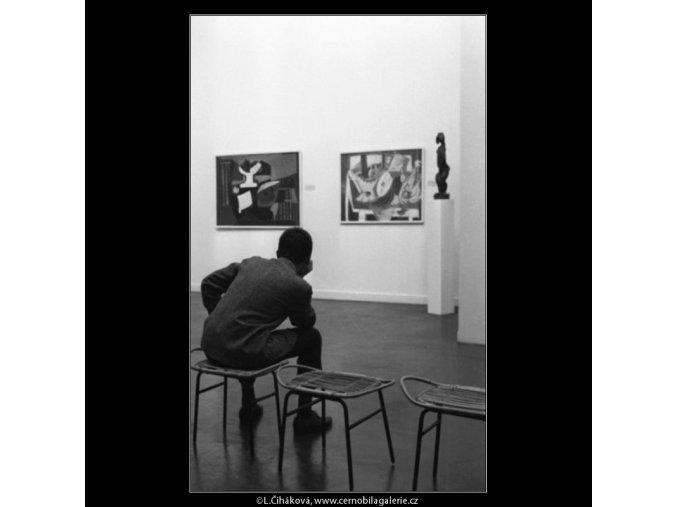 Návštěvníci nové sbírky (1785-3), žánry - Praha 1962 září, černobílý obraz, stará fotografie, prodej