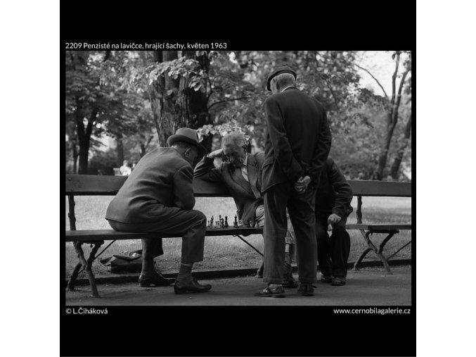 Penzisté na lavičce, hrající šachy (2209), žánry - Praha 1963 květen, černobílý obraz, stará fotografie, prodej