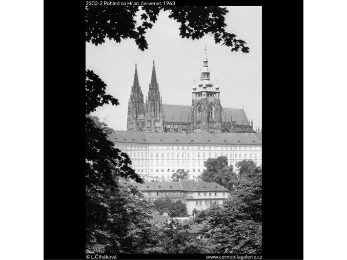 Pohled na Hrad (2302-2), Praha 1963 červenec, černobílý obraz, stará fotografie, prodej