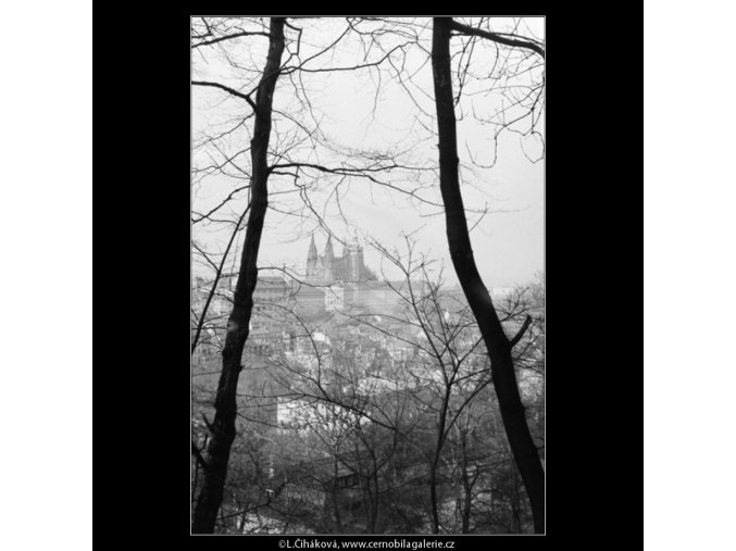 Pohled na Hrad (2817-2), Praha 1964 duben, černobílý obraz, stará fotografie, prodej