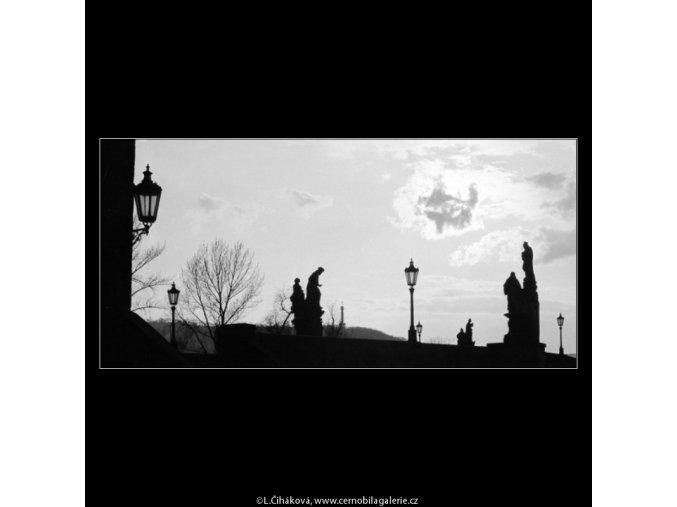 Kontury soch a mostu (2818-2), Praha 1964 duben, černobílý obraz, stará fotografie, prodej