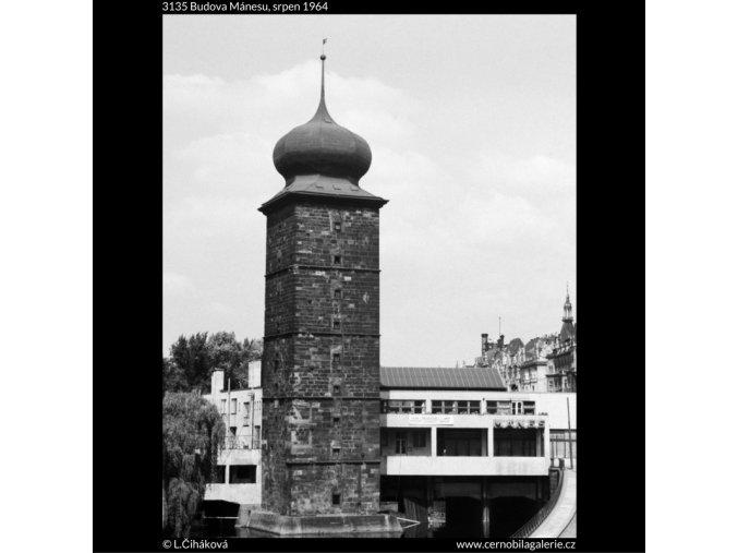 Budova Mánesu (3135), Praha 1964 srpen, černobílý obraz, stará fotografie, prodej