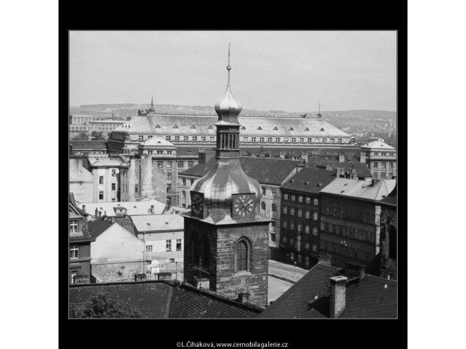 Věž kostela (3214-2), Praha 1964 září, černobílý obraz, stará fotografie, prodej