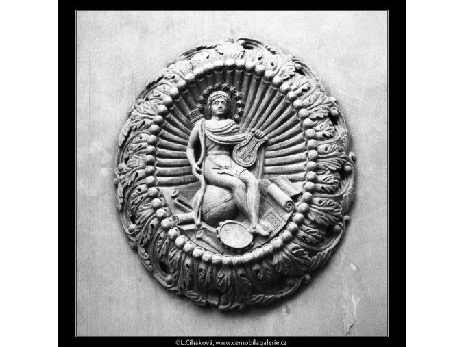 Dřevořezba na dveřích Platýzu (565), Praha 1959 , černobílý obraz, stará fotografie, prodej