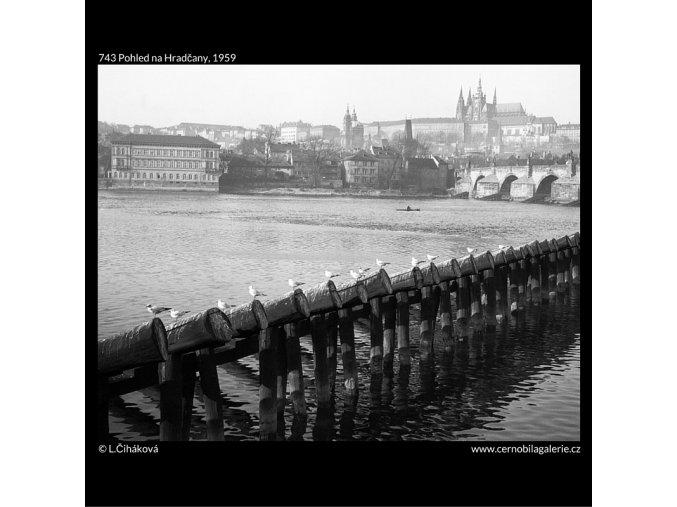 Pohled na Hradčany (743), Praha 1959 , černobílý obraz, stará fotografie, prodej