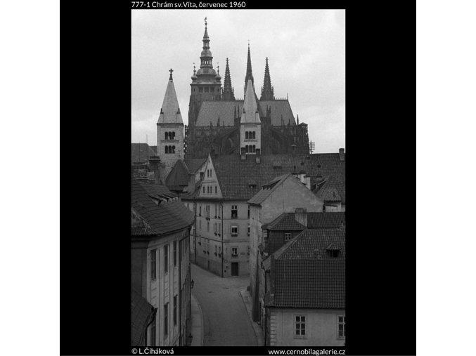 Chrám sv.Víta (777-1), Praha 1960 červenec, černobílý obraz, stará fotografie, prodej