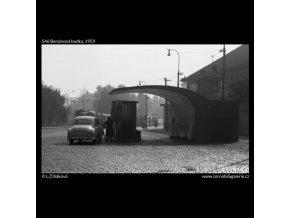 Benzinová budka (546), žánry - Praha 1959 , černobílý obraz, stará fotografie, prodej