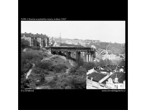 Stavba nuselského mostu (5290-1), žánry - Praha 1967 květen, černobílý obraz, stará fotografie, prodej