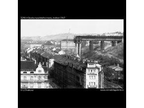 Stavba nuselského mostu (5290-4), žánry - Praha 1967 květen, černobílý obraz, stará fotografie, prodej