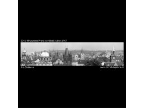 Panorama Praha stověžatá (5346-4), Praha 1967 květen, černobílý obraz, stará fotografie, prodej