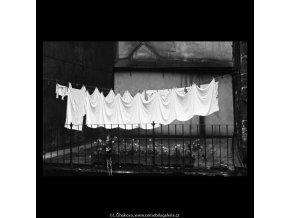 Vyvěšené prádlo (5446), žánry - Praha 1967 srpen, černobílý obraz, stará fotografie, prodej