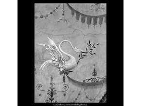 Detail nástropní malby (5667), Praha 1967 říjen, černobílý obraz, stará fotografie, prodej