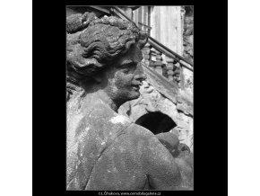 Plastiky zámku Troja (201-3), Praha 1959 , černobílý obraz, stará fotografie, prodej