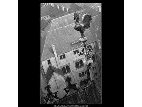 Kohout na špičce (963-2), Praha 1960 listopad, černobílý obraz, stará fotografie, prodej
