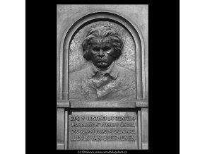 Pamětní deska L.van Beethovena (932-1), Praha 1960 , černobílý obraz, stará fotografie, prodej