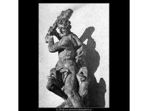 Socha Herkula (1298-3), Praha 1961 , černobílý obraz, stará fotografie, prodej