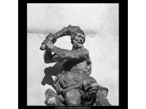 Socha Herkula (1298-4), Praha 1961 , černobílý obraz, stará fotografie, prodej