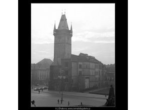 Věž Staroměstské radnice (1429-2), Praha 1961 prosinec, černobílý obraz, stará fotografie, prodej