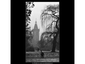 Park a věž radnice (1418-2), žánry - Praha 1962 leden, černobílý obraz, stará fotografie, prodej