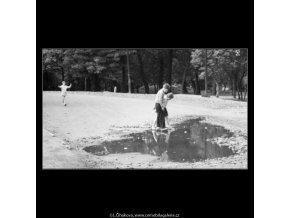Děti a louže (1803), žánry - Praha 1962 září, černobílý obraz, stará fotografie, prodej