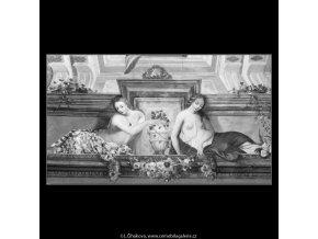 Fresky z Trojského zámku (2229-5), Praha 1963 červen, černobílý obraz, stará fotografie, prodej