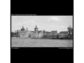 Pohled na Karlovy lázně (2831-2), Praha 1964 duben, černobílý obraz, stará fotografie, prodej