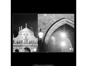 Malostranská věž a kostel (2894), Praha 1964 květen, černobílý obraz, stará fotografie, prodej